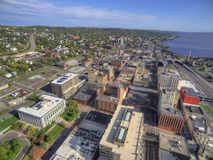 Downtown Duluth and Lake Superior. Duluth and Lake Superior in Summer seen from Above by Drone Royalty Free Stock Images