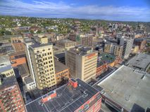 Downtown Duluth and Lake Superior. Duluth and Lake Superior in Summer seen from Above by Drone Stock Image