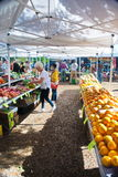 Downtown Dunedin, Fl Market. Open air tent covered produce market in small downtown Dunedin, Florida with people buying and shopping on sunny day Royalty Free Stock Photo