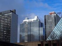 Downtown Edmonton Alberta. Tall buildings against a cloudy sky in Edmonton Alberta stock photos