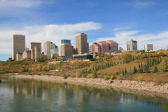 Downtown Edmonton skyline. Scenic view of downtown Edmonton in Autumn with North Saskatchewan River in foreground, Alberta, Canada Royalty Free Stock Image