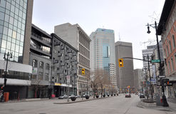 Downtown empty street. View on the downtown of Winnipeg City, Manitoba province, Canada. The photo was taken in November 2013 Royalty Free Stock Photo
