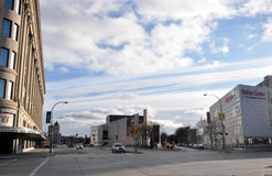 Downtown empty street. View on the downtown of Winnipeg City, Manitoba province, Canada. The photo was taken in November 2013 stock photo