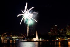 Downtown Fireworks. Fireworks display over the city of Pittsburgh, PA Royalty Free Stock Images