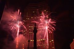 Downtown fireworks. stock photos