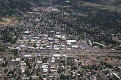 Downtown Flagstaff. Aerial of Downtown Flagstaff Route 66 in Northern Arizona Stock Image