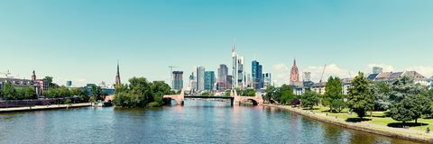 Downtown of Frankfurt am Main city as a panorama. Downtown of Frankfurt am Main City as a panoramic skyline in summer Royalty Free Stock Image