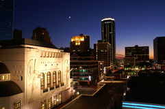 Downtown Ft Worth. Picture taken behind the AMC theater on top of a parking garage, perfect vantage point. Building on the left is Bass Hall home to the Fort stock images