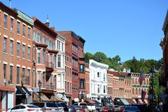 Downtown Galena Illinois. View of the popular tourist destination of Galena, Illinois during a busy summer day Royalty Free Stock Photography