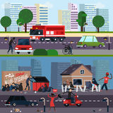 Downtown And Ghetto Character Composition Set Royalty Free Stock Photography