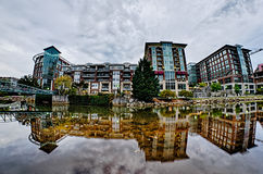Downtown of greenville south carolina around falls park Stock Images