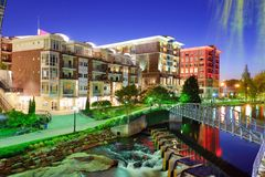 Downtown Greenville, South Carolina. Greenville, South Carolina at Falls Park in downtown at night Royalty Free Stock Photos
