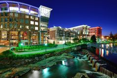 Downtown Greenville, South Carolina. Greenville, South Carolina at Falls Park in downtown at night Stock Image