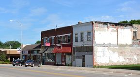Downtown Griswold Iowa. View of the storefronts in downtown Griswold Iowa Royalty Free Stock Photo