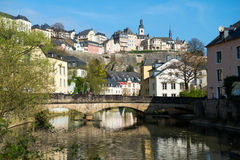 Downtown Grund of Luxembourg City Royalty Free Stock Photography