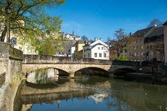 Downtown Grund of Luxembourg City Stock Photo
