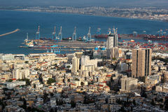 Downtown Haifa from Upper Terraces of Bahai Gardens, Israel royalty free stock photography