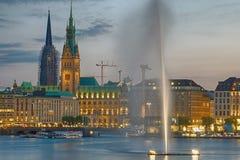 Downtown Hamburg at dawn Stock Image