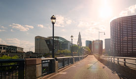 Downtown Hartford Connecticut with beautiful sun flare Royalty Free Stock Photography