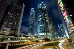 Downtown Hong Kong At Night Stock Photography