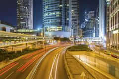 Night traffic in downtown of Hong Kong city Royalty Free Stock Image