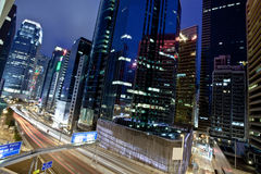 Downtown Hong Kong at night Royalty Free Stock Photos