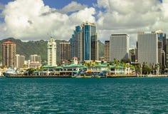 Downtown Honolulu. And Aloha Tower across Honolulu Harbor on Oahu, Hawaii Stock Photo