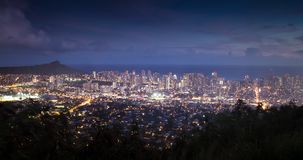 Honolulu Sunset Time Lapse. Downtown Honolulu from Dusk to Night stock footage