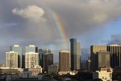 Downtown Honolulu. Early morning rainbow showers over downtown Honolulu, on the island of O'ahu, Hawai'i, USA Royalty Free Stock Images
