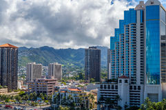 Downtown Honolulu. The Financial District, located in Central Downtown Honolulu.  Both modern and historic buildings are located in this area Stock Photos