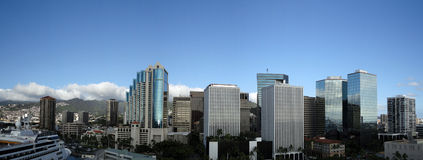 Downtown Honolulu Skyline along Nimitz Highway. With cruiseship in port taken from top of Aloha Tower stock images