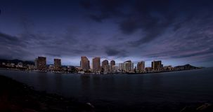 Honolulu Sunset Time Lapse. Downtown Honolulu and Waikiki Beach from Dusk to Night stock video
