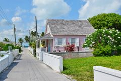 Downtown Pink House on Green Turtle Cay in Bahamas royalty free stock image