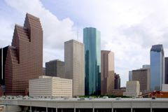 Downtown Houston. Texas with a cloudy sky Stock Image