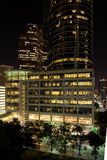 Downtown Houston buildings at night Royalty Free Stock Photo