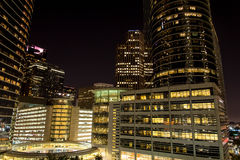 Downtown Houston buildings at night Royalty Free Stock Images