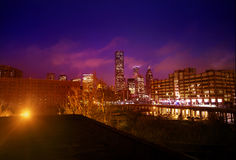 Downtown Houston. Colorful view of downtown Houston from the warehouse district at night royalty free stock photos