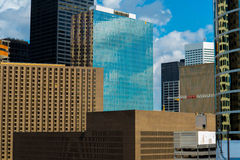 Downtown Houston highrise buildings. With a blue sky Stock Image