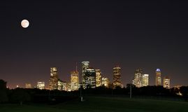 Downtown Houston Night Pano Royalty Free Stock Image