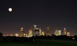 Downtown Houston Night Pano Royalty Free Stock Image