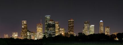 Downtown Houston Night Pano Royalty Free Stock Images