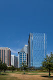 Downtown Houston offices and park Stock Photos