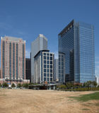 Downtown Houston offices and park Stock Photo