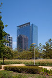 Downtown Houston park and offices Royalty Free Stock Photo