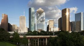 Downtown Houston seen from the Bayou Royalty Free Stock Photos