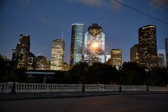 Downtown Houston skyline at night Stock Image