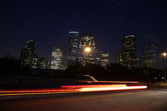 Downtown Houston skyline at night Stock Photos