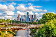 Downtown Houston skyline. In Texas USA with bluesky royalty free stock images