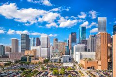 Downtown Houston skyline. In Texas USA with bluesky royalty free stock photography