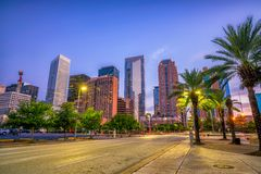 Downtown Houston skyline. In Texas USA at twilight Royalty Free Stock Photography